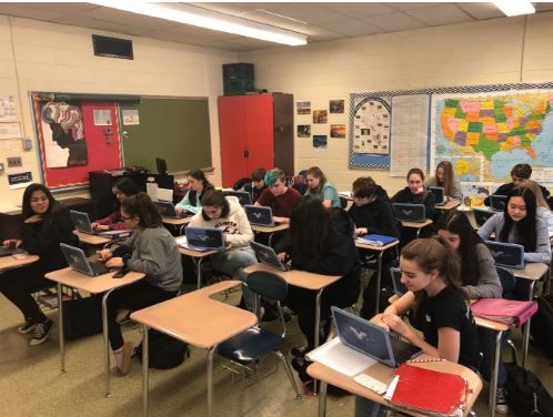 Wayne Valleys hardworking freshman students using their brand new school bought Chromebooks.