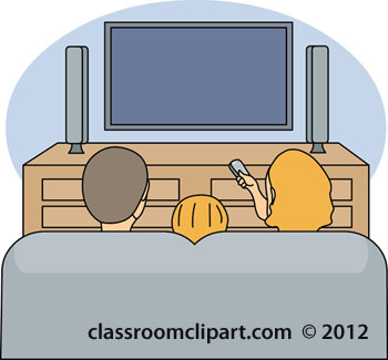 Family Watching TV Clipart